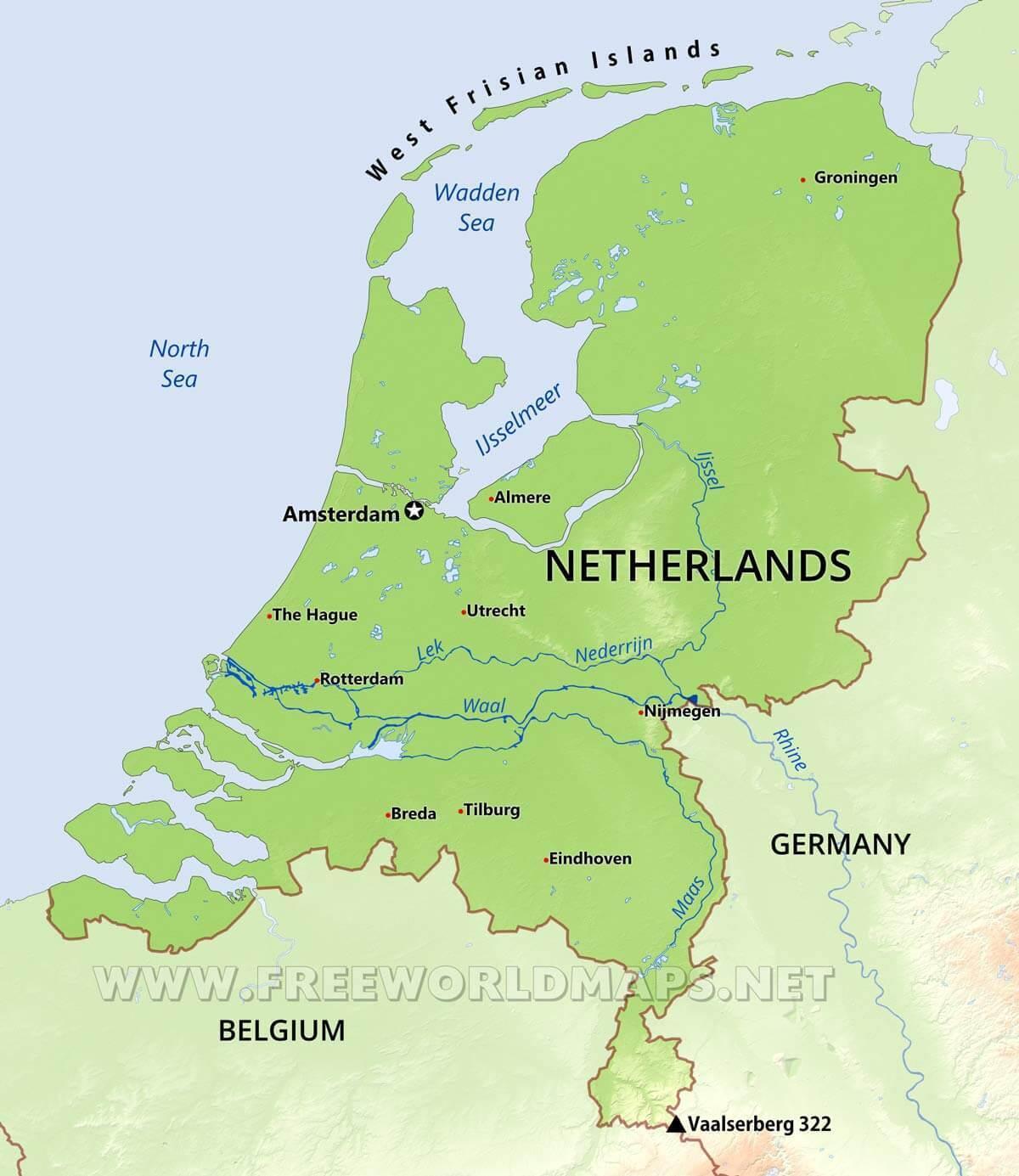 Holandiya Fizicheska Karta Fizicheska Karta Na Holandiya Zapadna